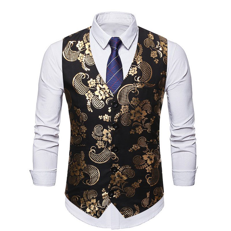 Mens Suit Vest 2019 Luxury Gold Paisley Floral Sleeveless Vest Waistcoat Men DJ Club Party Wedding Groom Vests Chaleco Hombre