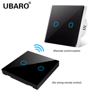 Image 2 - UBARO EU/UK100 240V Wireless Controller Crystal Glass Screen Smart home wall light lamp RF433 Controller Touch switches 2Gang