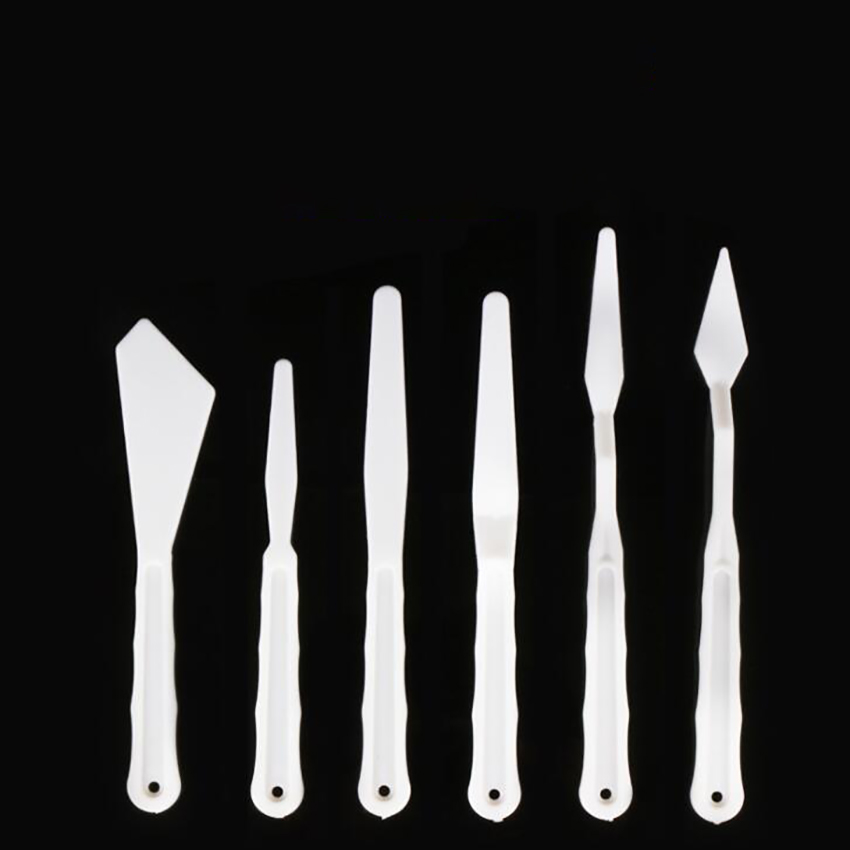 6PCS/Set Plastic Painting Knife Spatula Palette Knife Oil Painting Accessories Color Mixing For Oil, Canvas, Acrylic Painting