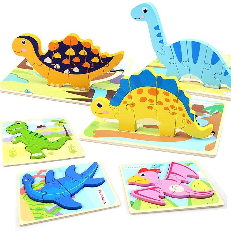 Дети животных головоломка Монтессори 3D двухсторонняя, с узором в полоску деревянные головоломки игрушки рассказать историю Развивающие деревянные головоломки для детей 4