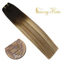 VeSunny, волосы для наращивания на заколках человеческие волосы 7 шт клипсы для наращивания волос наращивание волос Реми эффектом деграде(переход от темного к темно-коричневый светлые моменты#2/6/24 120gr
