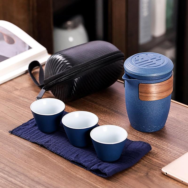 Керамический чайник gaiwan с 3 чашками чайные наборы портативный дорожный чайный набор с дорожным мешком