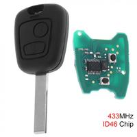 433MHz 2 Buttons Remote Car Key with ID46 Chip and HU83 Blade for Citroen 73373067C Peugeot 307 2000-2017