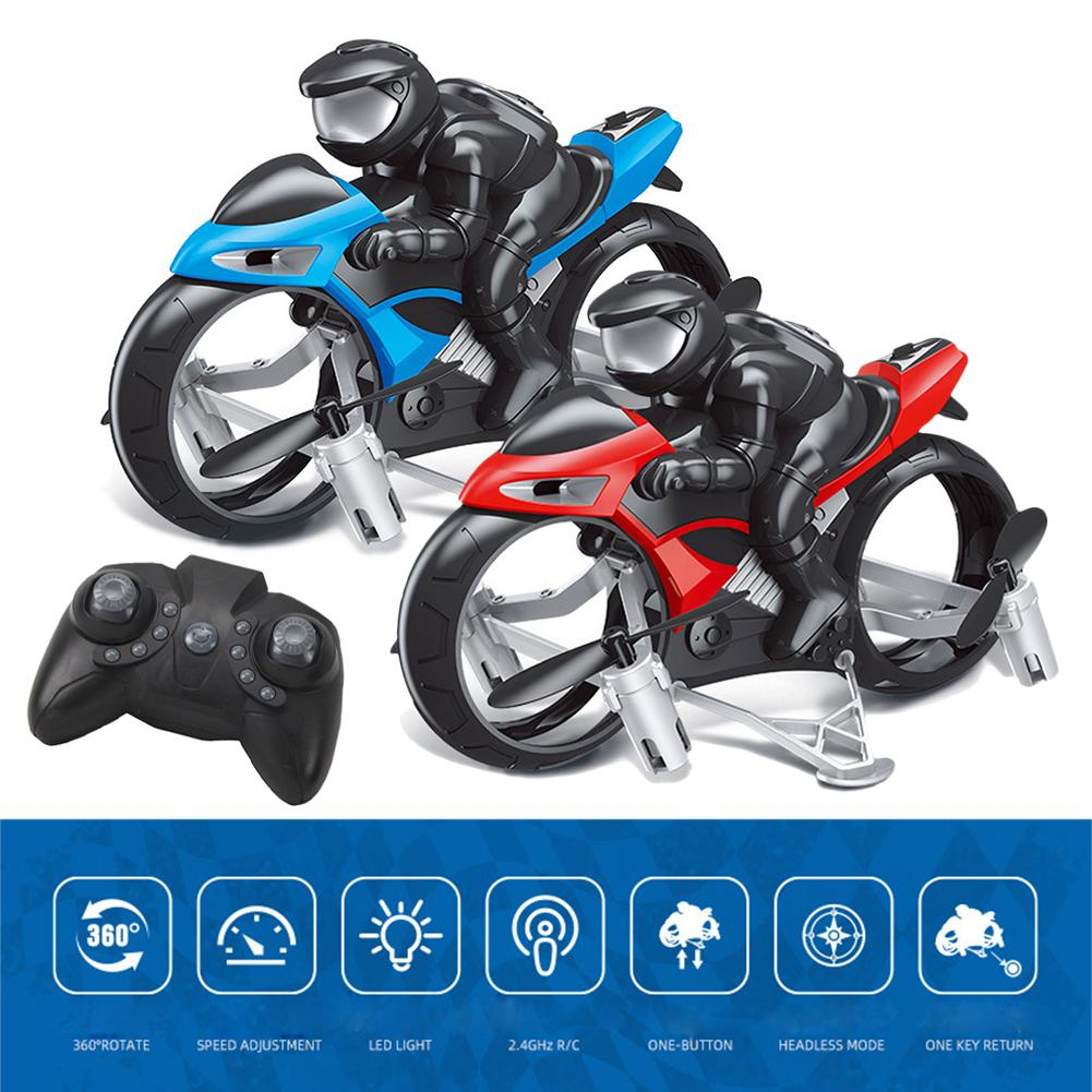 RC Stunt Motorcycle 2 In 1 Land Air 2.4GHz Flying Off-road Motorcycle Drone With 360 Rotation Drift Headless Model Motorbike