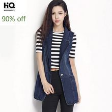 Westen Frauen 2020 Frühling Koreanische Mode Slim Fit Weiche Lange Denim Frau Weste Sleeveless Harajuku Single Button Jeans Mantel(China)