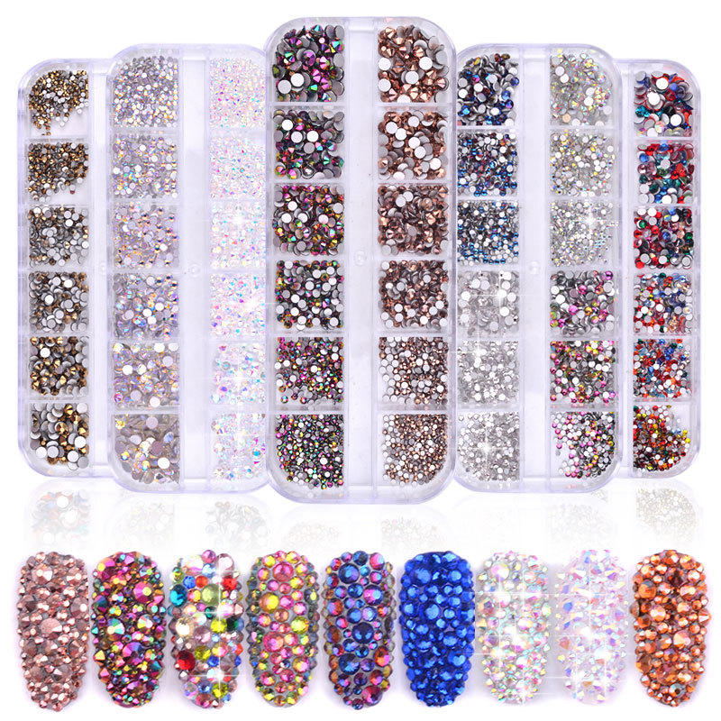 12 Boxes / Set Of AB Crystal Rhinestone Diamond Gem 3D Glitter Nail Art Decoration DIY Nail Art Accessories