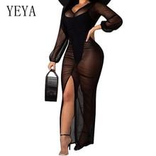 YEYA Sexy Women Transparent Mesh Dress Autumn Fashion V Neck Long Sleeve Pleated Maxi Clubwear Party Dresses Vestiods