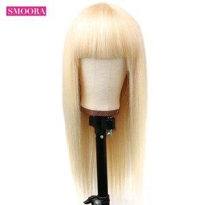 Image 2 - Smoora 브라질 스트레이트 중간 부분 레이스 프런트 인간의 머리가 발 613 금발 레미 투명 레이스 정면 가발 Pre Plucked 150%
