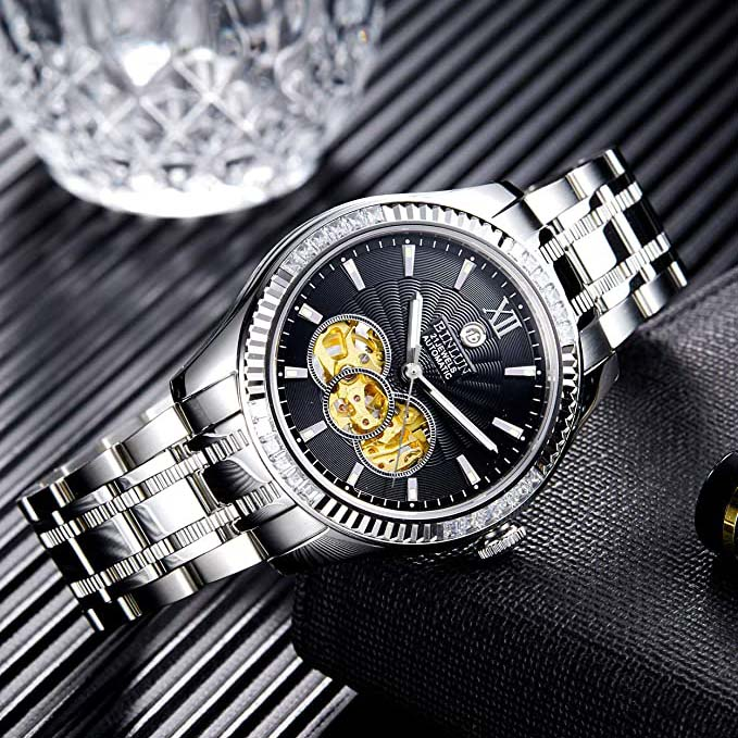BINLUN Automatic Men's Daytona Watch Mechanical 18K Gold Plated Watches Top Brand Male DAY/DATE Display Hollow Dial Wristwatches