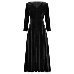 Image 3 - Abbigliamento donna autunno inverno tinta unita nero/vino rosso velluto scollo a v bottoni frontali abito a vita alta a metà polpaccio