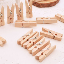 50Pcs/Pack Mini Photo Clothes Clip Wooden Home Organizer Clothespin Peg