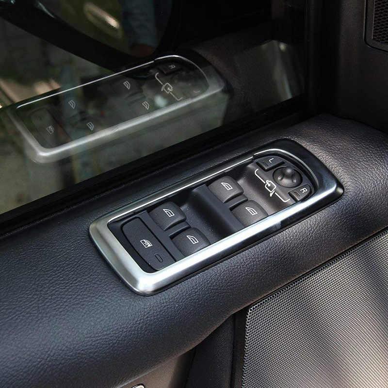 Chrome interruptor da janela porta do carro elevador botão capa guarnição quadro para land rover discovery 4 lr4 range rover sport l320 acessórios