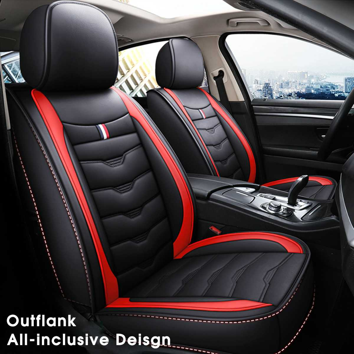 Rear 5 seat General Car Seat Cover PU Leather Cushion Headrest Universal Front