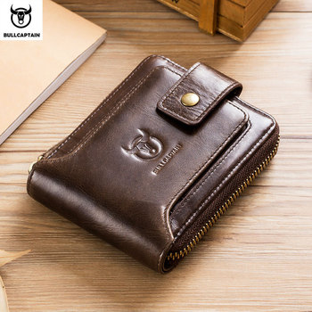 BULLCAPTAIN  men's purse leather purse male purse RFID card holder wallet Storage bag coin purse Zipper wallet
