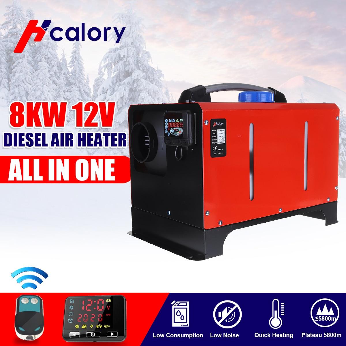 Tout en un unité 1-8KW 12/24V voiture chauffage outil Diesel réchauffeur d'air monotrou LCD moniteur Parking plus chaud pour voiture camion Bus bateau RV