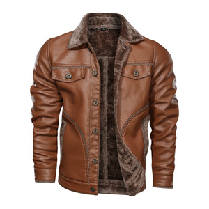 Image 4 - Zima nowa męska kurtka skórzana na co dzień Plus aksamitne PU płaszcz skórzany mężczyźni polar wojskowy motocykl kurtka Retro duży rozmiar M 8XL