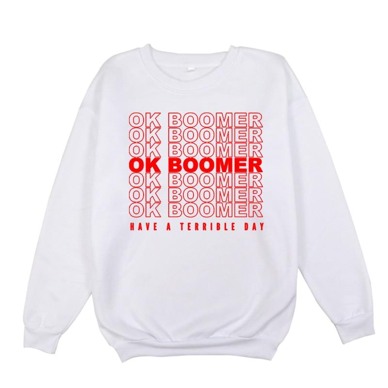 Ok Boomer Winter Sportswear Boys/Girls Casual O Neck Sweatshirt Women/Men O-neck Hoodies Autumn Teenager's Loose Section Jumpers