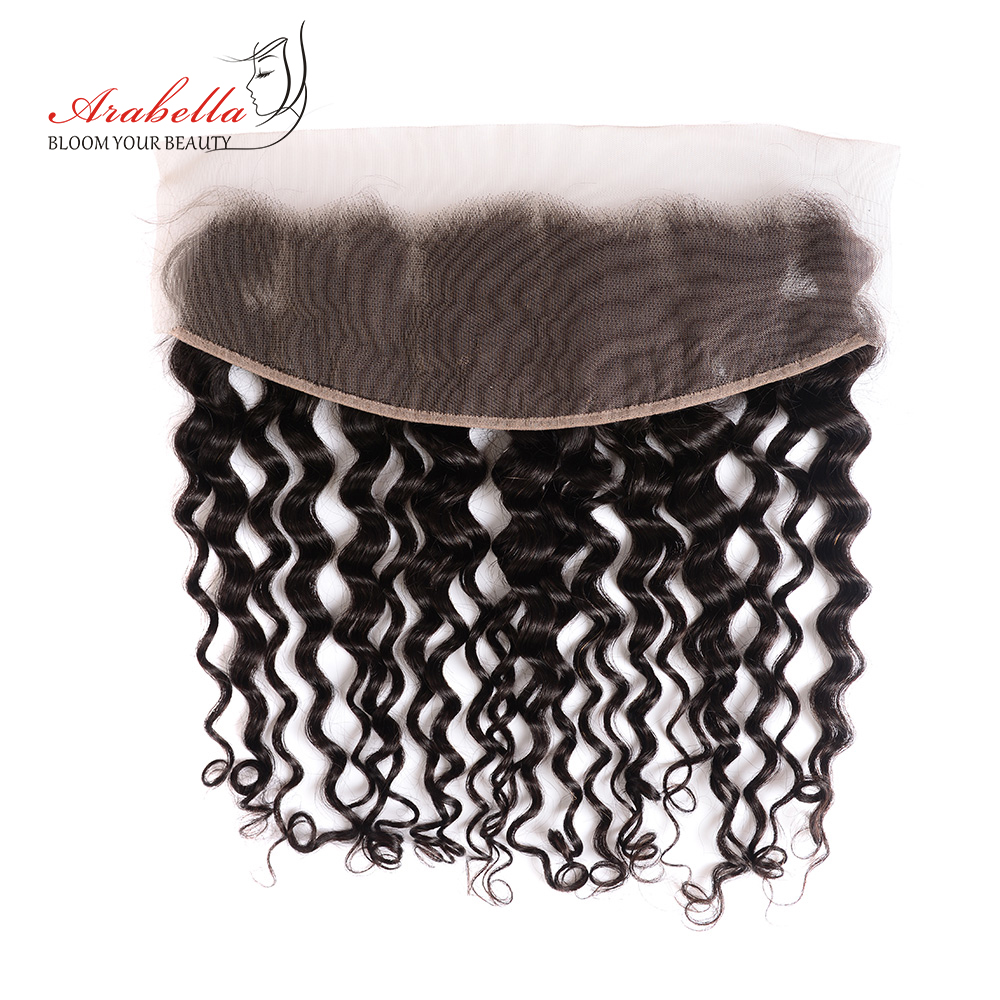Water Wave Hair Bundles With Lace Frontal Pre Plucked Bleached Knots Arabella Natural  Hair Frontal With Bundles 4