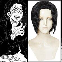 Anime iblis avcısı Kimetsu hiçbir Yaiba Cosplay peruk Kibutsuji Muzan Cosplay peruk sentetik peruk saç cadılar bayramı saç bıçağı şeytan