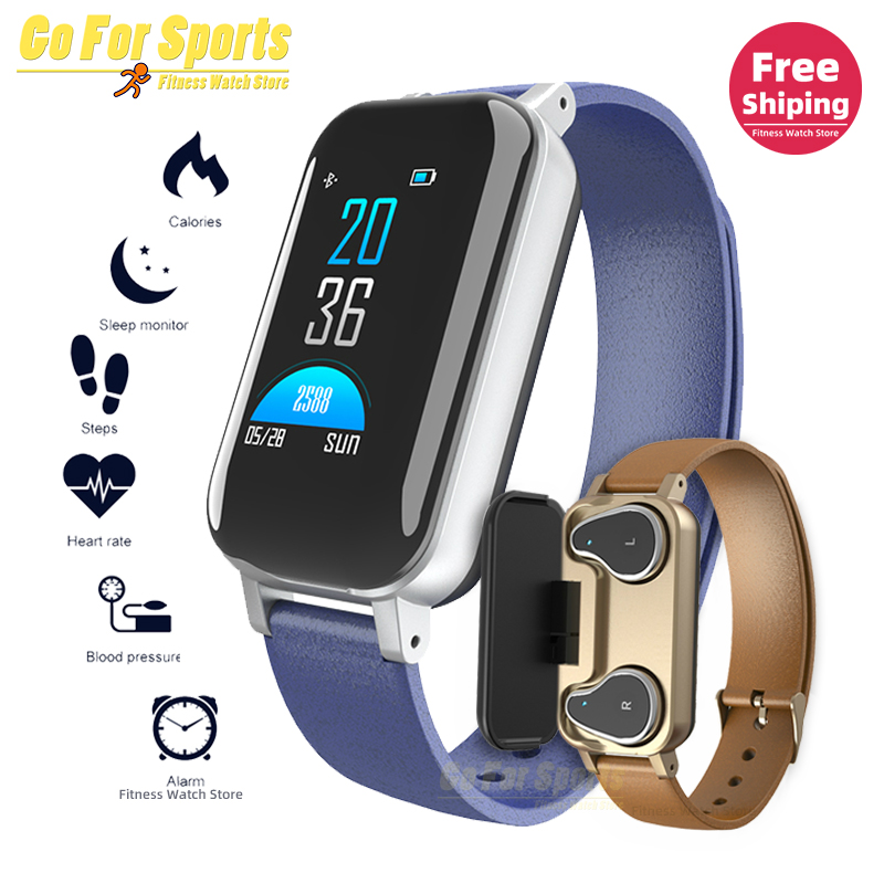 T89 Smart <font><b>Watch</b></font> Men with Bluetooth Earphone Women Smart <font><b>Watch</b></font> IP67 Support Siri <font><b>BT</b></font> Call Fitness Bracelet Smart Band pk T90 M1 image