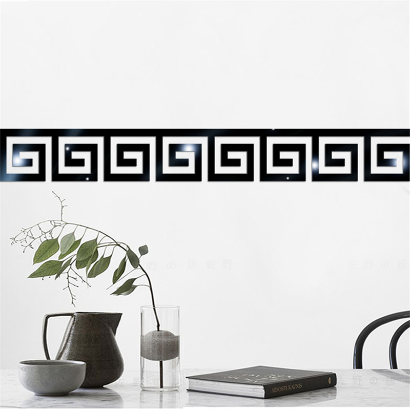 10pcs Modern 3D Acrylic Stickers DIY Mirror Wall Stickers for Bedroom