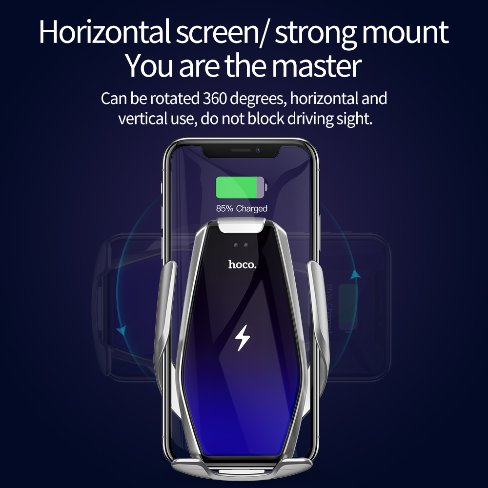 HOCO Qi Wireless Car Charger Automatic Infrared Clip Air Vent Mount Car Phone Holder Glass Surface 15W Fast Charger for iPhone X 2