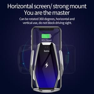 Image 2 - HOCO Qi chargeur de voiture sans fil pince infrarouge automatique prise dair support de téléphone de voiture Surface en verre 15W chargeur rapide pour iPhone X