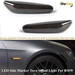 2-Pack Smoked/Clear Lens Amber LED Side Marker Turn Signal Light For BMW E90 E91 E92 E93 E46 E53 X3 E83 X1 E84 E81 E82 E87 E88