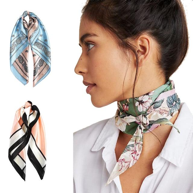 AWAYTR Square Silk scarf 60*60cm Headband hairbands Hair Hoop Accessories For Women Girl Lady Head Neck Satin Scarf Handkerchief 1
