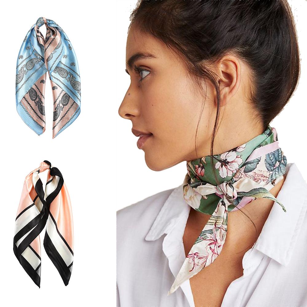 AWAYTR Square Silk scarf 60*60cm Headband hairbands Hair Hoop Accessories For Women Girl Lady Head Neck Satin Scarf Handkerchief