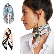 AWAYTR kwadratowy jedwabny szalik 60*60cm opaska hairbands akcesoria opaski do włosów dla kobiet dziewczyna pani głowa szyi apaszka satynowa chusteczka