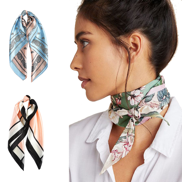 AWAYTR Square Silk scarf 60*60cm Headband hairbands Hair Hoop Accessories For Women Girl Lady Head Neck Satin Scarf Handkerchief