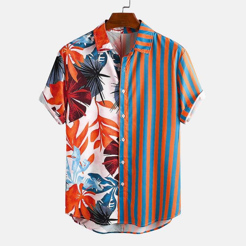 Fashion Men Hawaiian Shirt 2020 Short Sleeve Print Striped Patchwork Chic Tops Streetwear Summer Vacation Beach Camisas INCERUN
