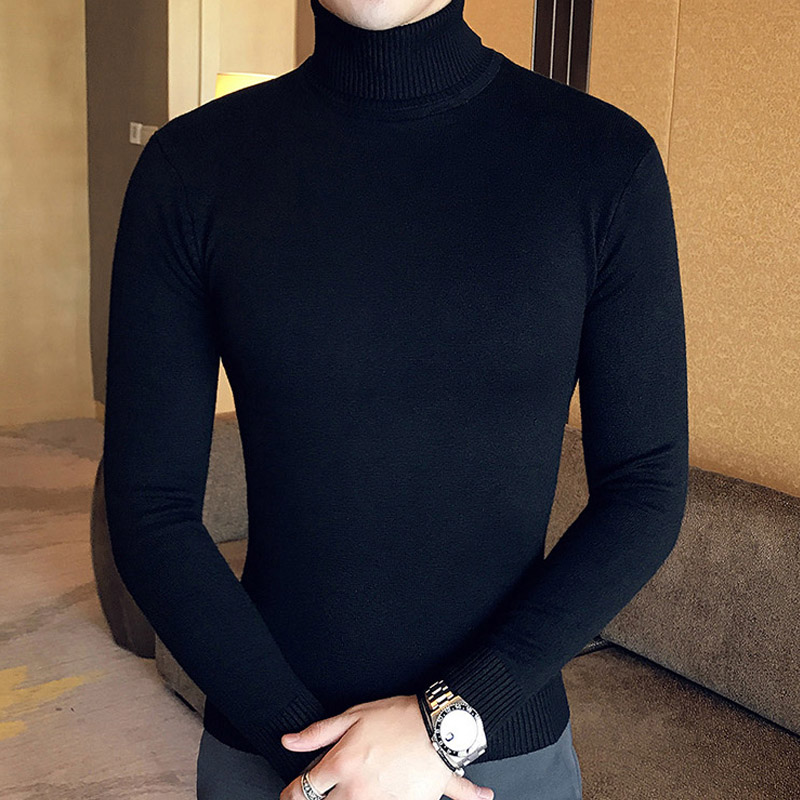 2019 Mens Turtleneck Sweaters And Pullovers Winter Casual Solid Knitted Turtleneck Wool Sweater Fashion Men Pullover Homme 1465