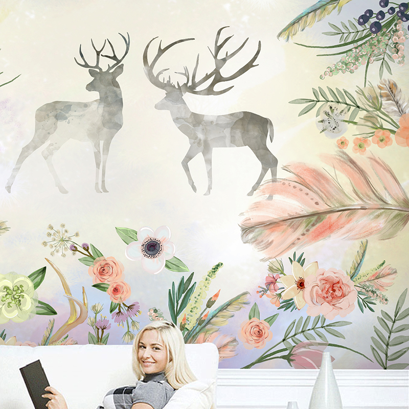 Dropship Custom 3D Wallpaper Design Flowers Deer Photo Kitchen Bedroom Living Room Wall Murals Papel De Parede Para Quarto