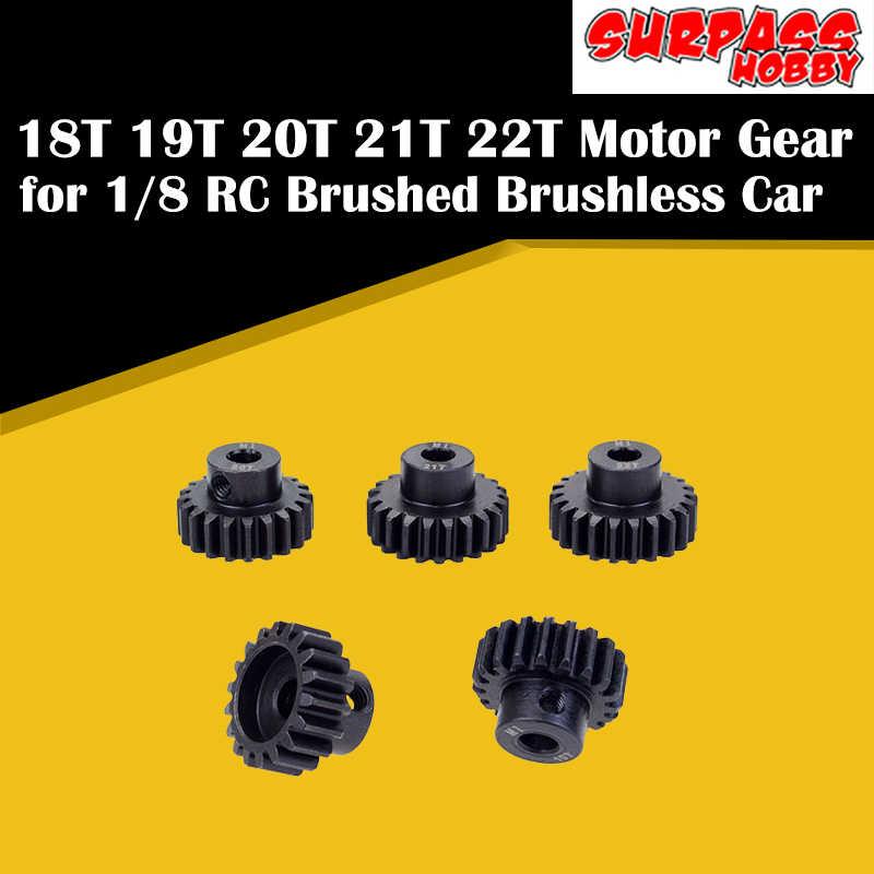 SURPASS งานอดิเรก 5Pcs M1 5mm 18T 19T 20T 21T 22T โลหะมอเตอร์ Pinion ชุดเกียร์สำหรับ 1/8 RC Brushless Motor