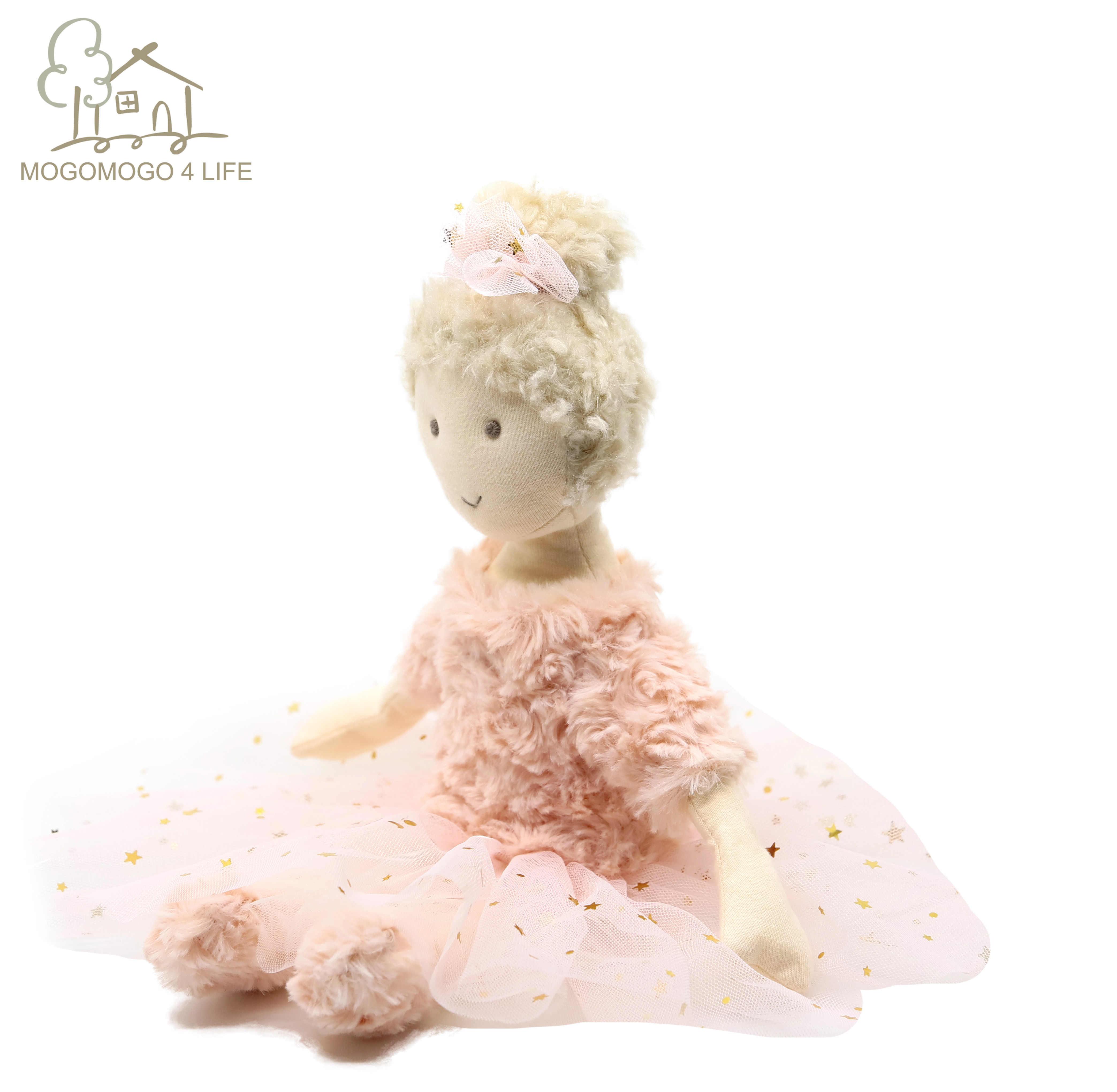Lüks Mogo pembe bale kız Dolly tatlı hediye çocuklar için bebek yatıştırmak oyuncaklar el yapımı balerin pembe prenses kız bez bebek