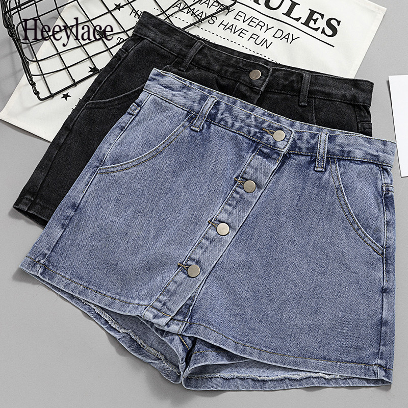 Plus Size Womens Summer Shorts Jeans For Women Shorts Skirt Denim Shorts Women Elastic Waist Wide Leg Ladies Jeans Short Female