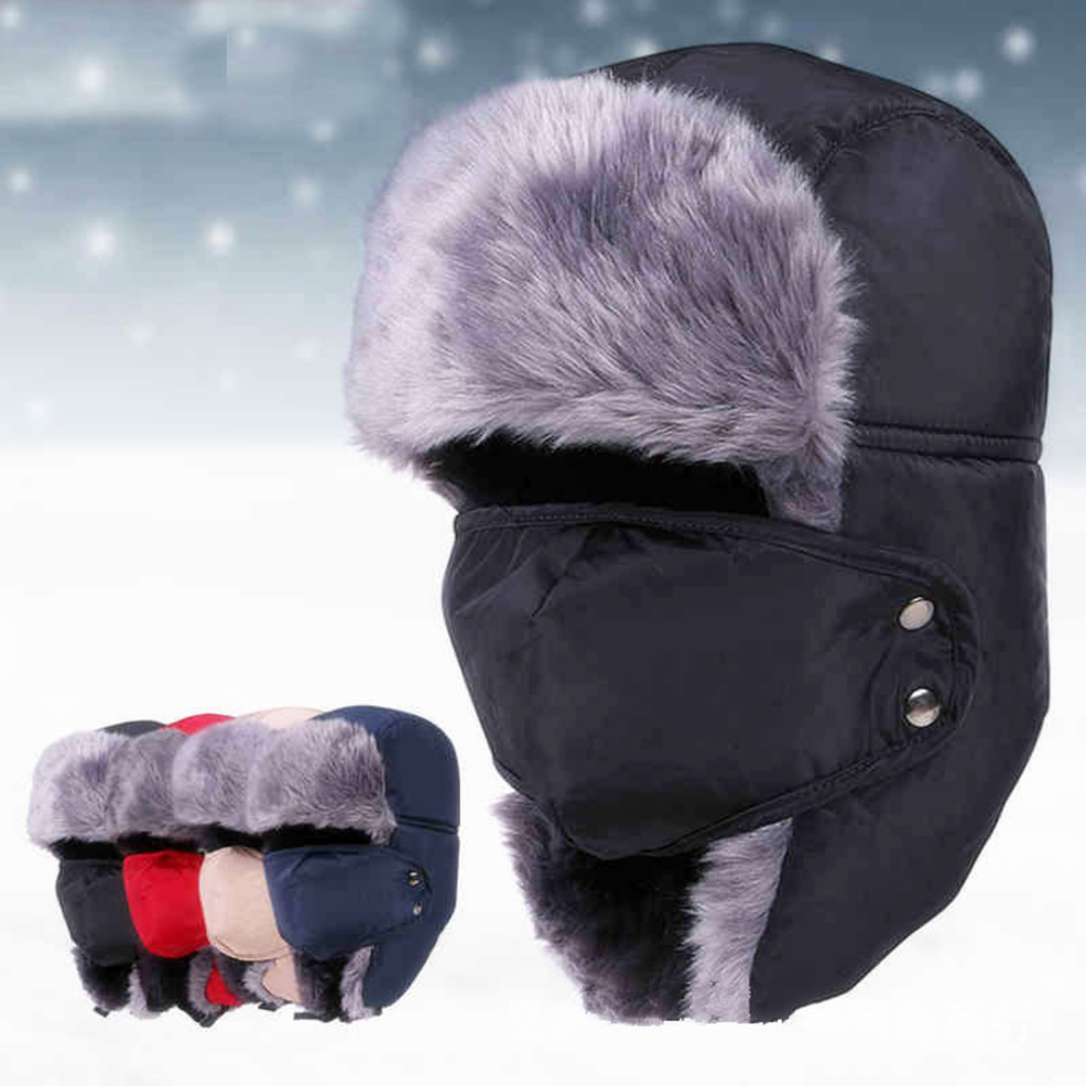 Warm Thickness Trapper <font><b>Hat</b></font> Winter Windproof <font><b>Hat</b></font> with Fack Mask Faux <font><b>Fur</b></font> Earflap Snow Ski <font><b>bomber</b></font> <font><b>Hats</b></font> Caps for Men image
