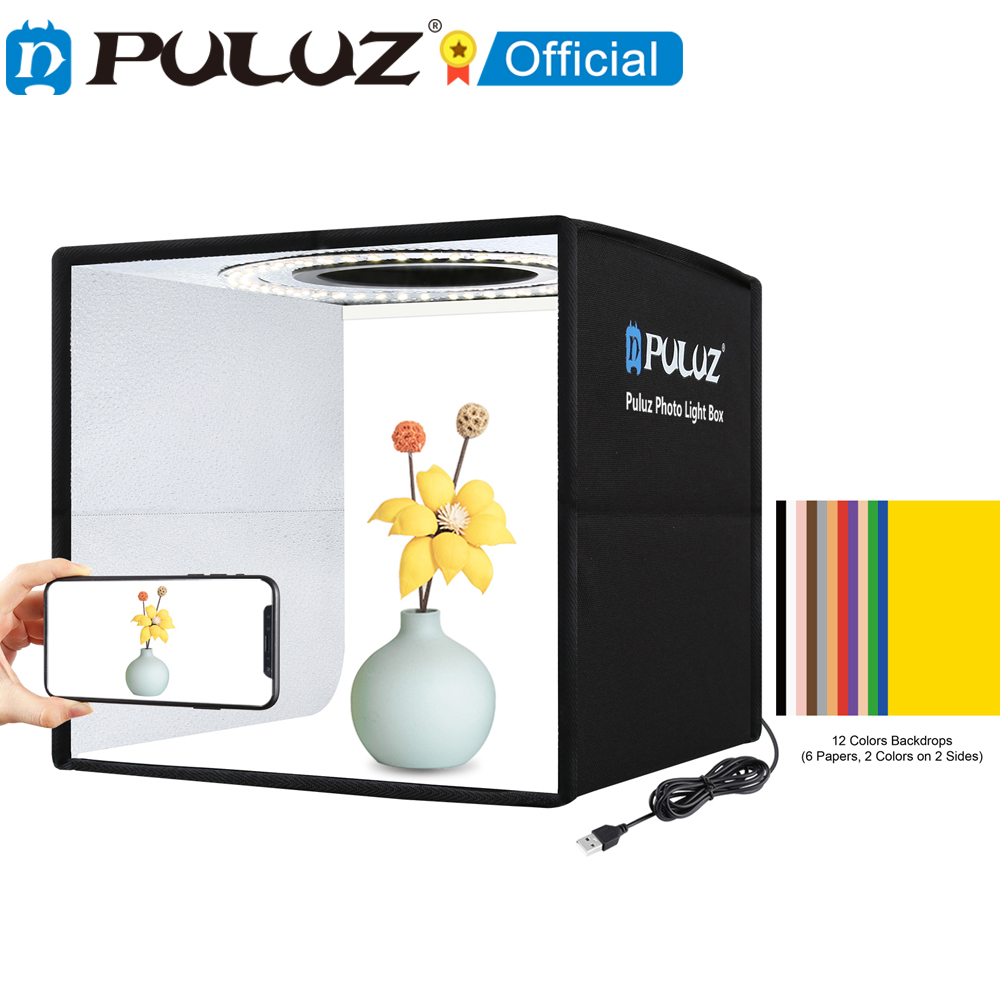 Light-Box Background Tent Photo-Studio PULUZ Mini Tabletop with 12-Colors Photography