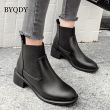 BYQDY Brand New Square Heels Boots Women Ankle PU Leather Slip On Classic Fashion Punk Party Office Shoes Woman Black