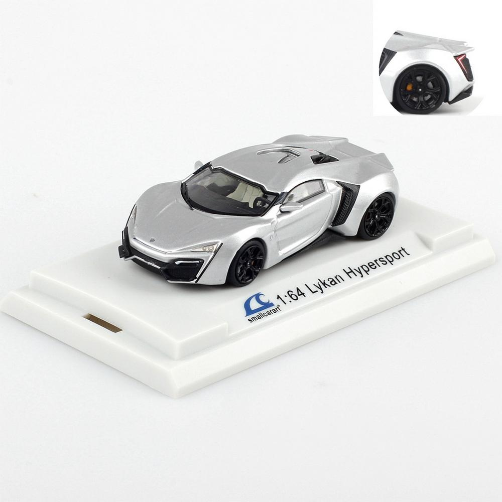 SmallCarArt 1/64 Scale Lykan HyperSport 2-door Silver Diecast Car Model Gift