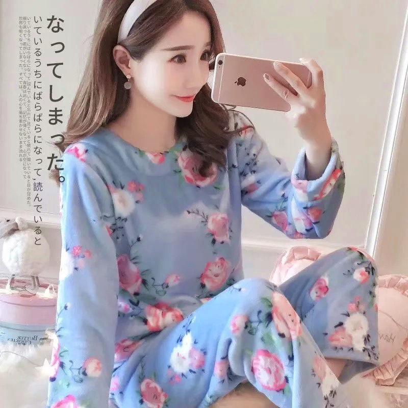 Пижама из кораллового флиса для женщин зима 2020 корейский стиль