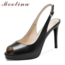 цена на Meotina High Heels Women Pumps Natiral Genuine Leather Thin High Heels Slingbacks Shoes Buckle Peep Toe Shoes Ladies Size 33-39