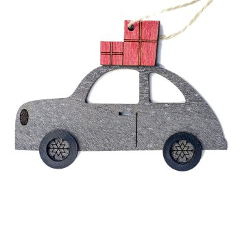 Christmas Wooden painted car Pendant Creative Xmas Tree Ornaments Cute Household Decoration Supplies image