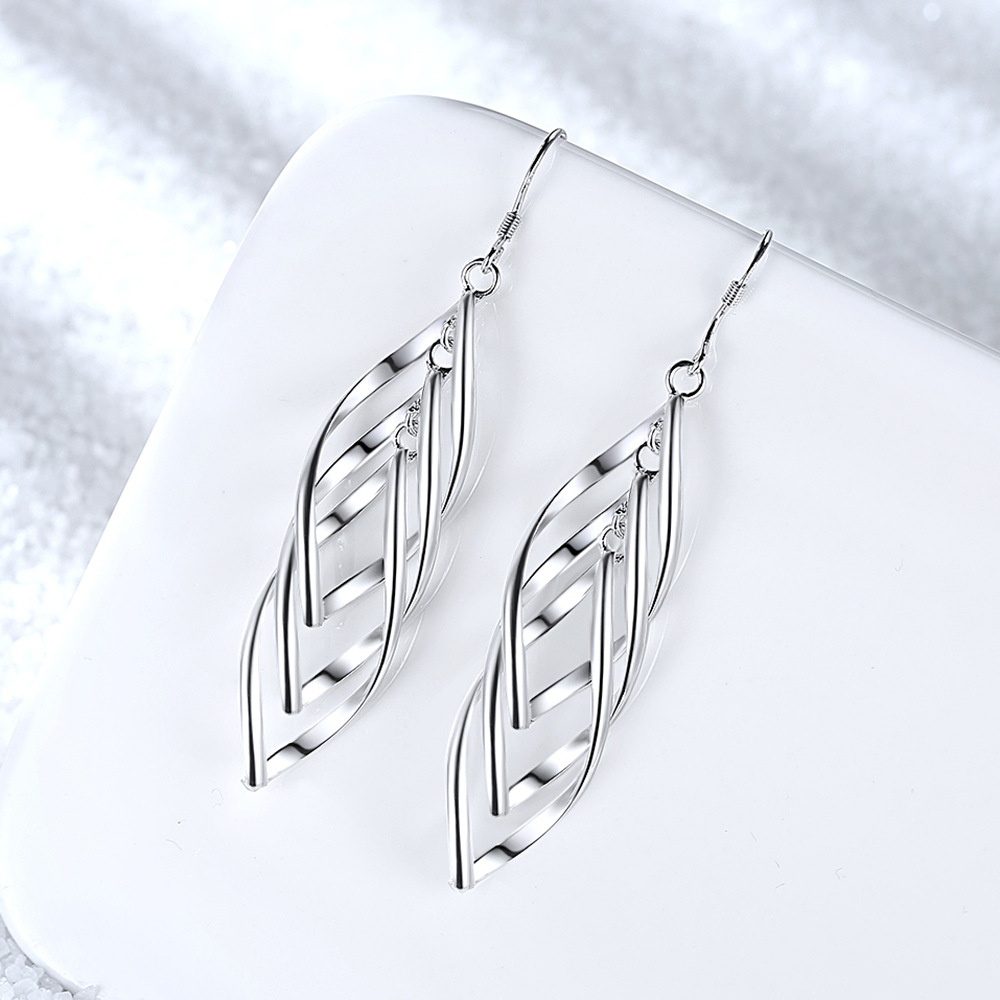 Classic 925 Sterling Silver Drop Earrings For Women Long Tassel Multi-layer Twisted Wave Earrings Oorbellen Brincos Pendientes