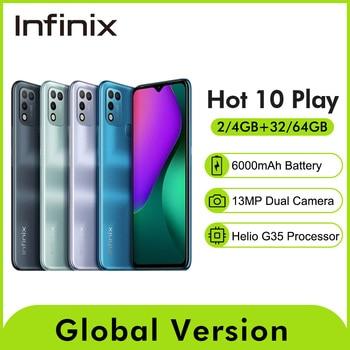 Global Version Infinix Hot 10 Play 6.82'' HD+ Display Smartphone 6000mAh Battery Helio G25 13MP AI Dual Rear Camera Phone 1