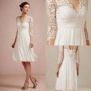 Boho Короткие свадебные платья 2020 с v-образным вырезом длиной до колена с кружевами 3/4 и длинными рукавами, Пляжное белое платье цвета слоновой...