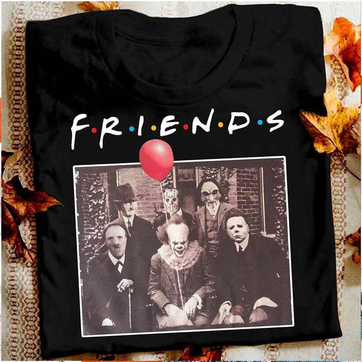 Horror Friends Pennywise Michael Myers Jason Voorhees Halloween T-Shirt T-shirt Friend Tv Show Horror Character Pennywise