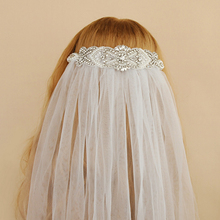 SERMENT Wedding White Lace Edge Veil Rhinestone Crown Bridal One-Layer 75cm Netting Accessories